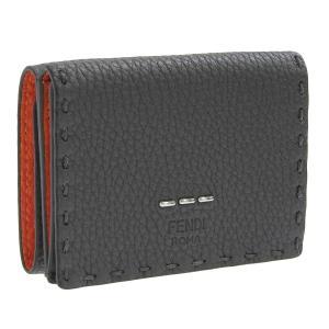 フェンディ FENDI CUOIO ROMANO 財布 折財布 ミニ コンパクト 財布 レザー グレー オレンジ メンズ 7m0280 riverall-men