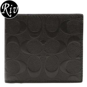 コーチ COACH 財布 二つ折り メンズ ブラック クロスグレインレザー アウトレット f75363blk