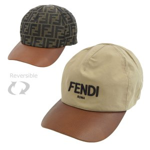 Lサイズ フェンディ FENDI CANVAS PELLE キャップ(リバーシブル) 帽子 キャンバス レザー ベージュ メンズ L fxq771 riverall-men