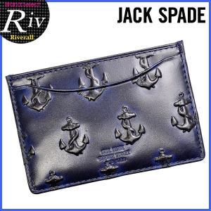 エコバッグ付 ジャックスペード JACK SPADE カードケース パスケース 定期入れ アンカー柄 メンズ レザー nyru0276|riverall-men