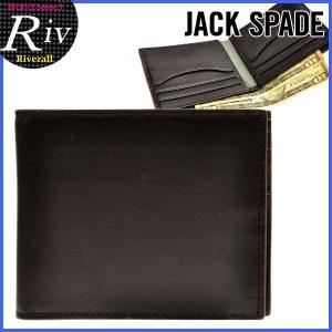 エコバッグ付 ジャックスペード JACK SPADE メンズ 財布 二つ折り財布 ブラック レザー nyru0758|riverall-men