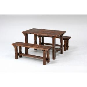 焼杉テーブル&ベンチセット アウトドア ガーデニング テーブルセット イス チェアー riverp