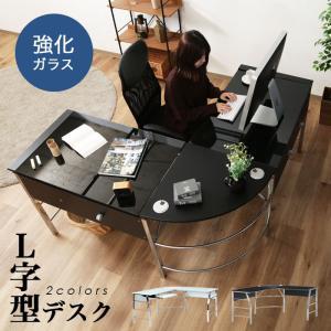 パソコンデスク オフィスデスク おしゃれ L字 PCデスク ワークデスク コーナーデスク ガラスデスク 書斎机 社長机  高級感の写真