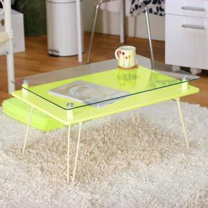 ガラステーブル ローテーブル 折りたたみ センターテーブル|riverp