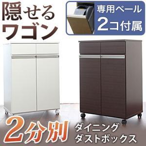 ゴミ箱 おしゃれ 家具調 高品質 2分別 キャスター付き キッチンワゴン|riverp