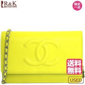 12d7b5f47542 シャネル レディース バッグ 財布 CHANEL キャビアスキン チェーンウォレット 斜め掛け イエロー 黄色 メンズ 女性 男性 中古 bag