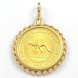 コインペンダント オーストラリア カンガルー 純金 1/4オンス K18枠 ペンダントトップ トップのみの販売 18金 24金 中古|rk-y