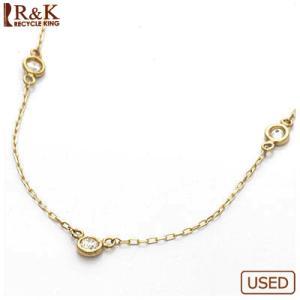デザインネックレス レディース 18金 K18 ダイヤモンド D0.10 女性 かわいい オシャレ 中古 necklace sprice0708|rk-y