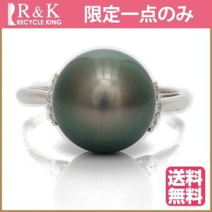 リング 指輪 プラチナ レディース PT900 ダイヤモンド パール 10mm D0.10 12号 ** 女性 かわいい 中古 ring sprice0708|rk-y