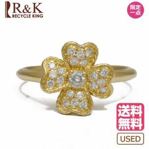 ニナリッチ リング 指輪 レディース 18金 K18 NINA RICCI ダイヤモンド 花 フラワー 15号 ゴールド 18K メンズ おしゃれ 中古|rk-y