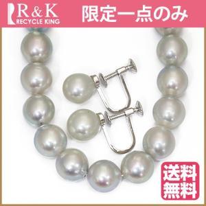 ネックレス イヤリング 2点セット レディース シルバー 真珠 パール SV925 8.5-9.0mm 42cm グレー系 フォーマル 中古 necklace earring 価格見直し rk-y