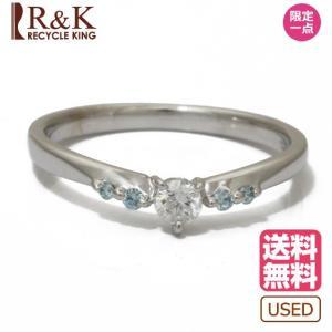 テイクアップ リング 指輪 レディース 10金ホワイトゴールド K10WG ダイヤモンド ブルーダイヤモンド D0.14 10号  10K TAKE-UP メンズ 中古|rk-y
