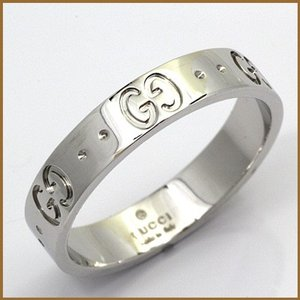 グッチ リング 指輪 レディース 18金 K18WG GUCCI 8.5号 #9 ホワイトゴールド BJ * 女性 かわいい オシャレ 中古 ring 価格見直し rk-y