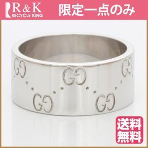 グッチ リング レディース メンズ 指輪 K18WG GUCCI アイコン 17号 18金 BJ * おしゃれ 女性 中古 ring 価格見直し rk-y
