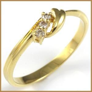 リング 指輪 レディース 18金 K18 ダイヤモンド ダイヤ ハート 女性 かわいい オシャレ 中古 ring 価格見直し|rk-y