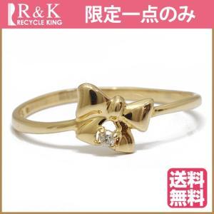 リング 指輪 レディース 18金 K18 ダイヤモンド D0.014 12号 リボン 一粒 ゴールド 18K 中古 ring 価格見直し|rk-y