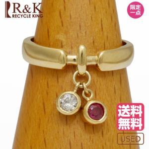 リング 指輪 レディース 18金 ルビー ダイヤモンド K18 D0.098 揺れる 8号 ゴールド 18K 中古|rk-y