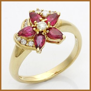 リング 指輪 レディース 18金 K18 ダイヤモンド D0.24 ルビー フラワー 18K 女性 かわいい オシャレ 中古 ring 価格見直し|rk-y