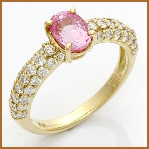 リング 指輪 レディース 18金 K18 ダイヤモンド D0.91 ピンクサファイア 女性 かわいい オシャレ 可愛い 中古 ring 価格見直し|rk-y