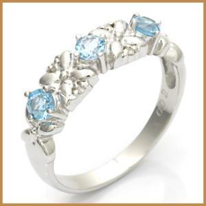 リング 指輪 レディース 14金 K14WG ブルートパーズ ダイヤモンド D0.02 フラワー かわいい オシャレ 中古 ring 価格見直し|rk-y