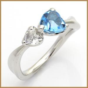 リング 指輪 レディース 18金 K18WG ブルートパーズ ブルームーンストーン ハート かわいい オシャレ 中古 ring 価格見直し|rk-y