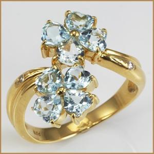 リング 指輪 レディース 18金 K18 ブルートパーズ ダイヤモンド フラワー 女性 かわいい オシャレ 中古 ring 価格見直し|rk-y