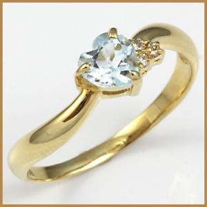 リング 指輪 レディース 18金 K18 ブルートパーズ ダイヤ ハート 女性 かわいい オシャレ 中古 ring 価格見直し|rk-y