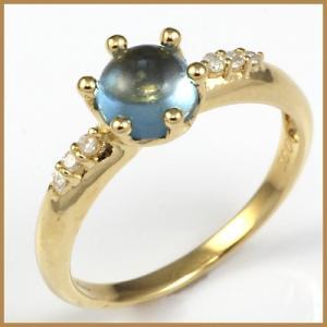 リング 指輪 レディース 18金 K18 ブルートパーズ ダイヤ D0.06 女性 かわいい オシャレ 中古 ring 価格見直し|rk-y
