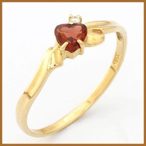 リング 指輪 レディース 18金 K18 ガーネット ダイヤモンド ハート 女性 かわいい オシャレ 中古 ring 価格見直し|rk-y