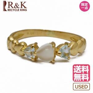 リング 指輪 レディース 18金 K18 ムーンストーン アクアマリン ハート 8号 ゴールド 18K 中古|rk-y