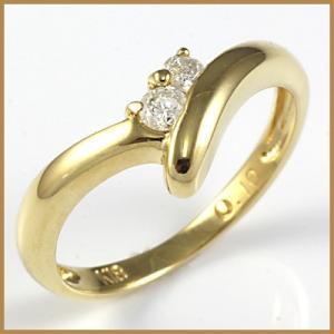 ピンキーリング 指輪 レディース 18金 K18 ダイヤモンド D0.10 ファランジリング 中古 ring 価格見直し|rk-y