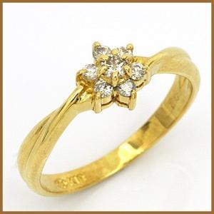ピンキーリング 指輪 レディース 18金 K18 ダイヤモンド D0.11 花 フラワー ファランジリング 中古 ring 価格見直し|rk-y