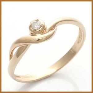 ピンキーリング 指輪 レディース 18金 K18PG ダイヤモンド D0.02 一粒 ピンクゴールド 中古 ring 価格見直し|rk-y