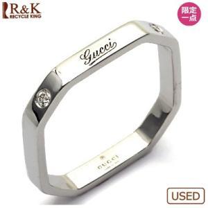 グッチ リング 指輪 レディース 18金 K18WG ダイヤモンド GUCCI 16号 #16 BJ * 中古 ring 価格見直し rk-y