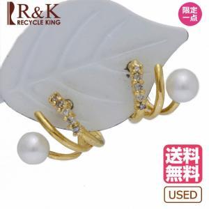 ピアス K18 ダイヤモンド D0.10 パール 真珠 18金 ゴールド 18K レディース メンズ おしゃれ かわいい ギフト プレゼント ※ 中古|rk-y