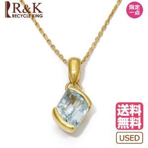 ネックレス レディース 18金 ブルートパーズ K18 一粒 大粒 ゴールド 18K メンズ おしゃれ かわいい ギフト プレゼント * 中古|rk-y