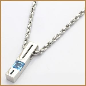 ネックレス レディース 18金 K18WG ブルートパーズ 0.30 * オシャレ 可愛い 中古 necklace 価格見直し|rk-y