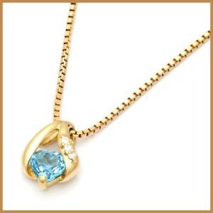ネックレス レディース 18金 K18 ブルートパーズ ダイヤモンド D0.02 ハート * オシャレ 中古 necklace 価格見直し|rk-y