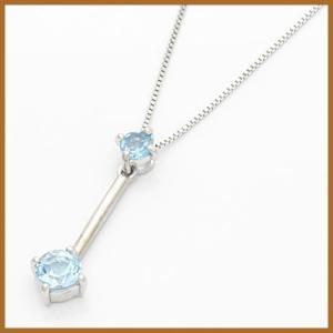ネックレス レディース 18金 ホワイトゴールド K18WG ブルートパーズ 中古 necklace 価格見直し|rk-y