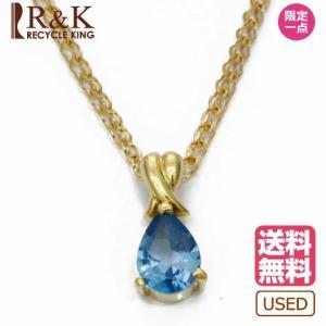 ネックレス 18金 レディース K18 ブルートパーズ 一粒 ゴールド 18K メンズ おしゃれ かわいい ギフト プレゼント * 中古 necklace|rk-y