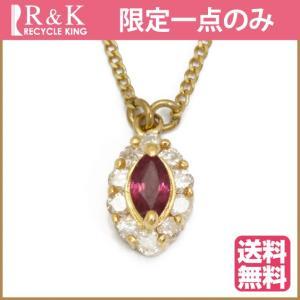 デザインネックレス レディース 18金 K18 ルビー ダイヤモンド 18K ゴールド 中古 necklace 価格見直し|rk-y