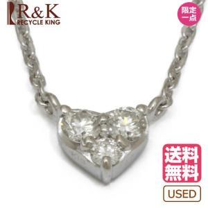 ヴァンドーム青山 ネックレス レディース 18金 K18WG ダイヤモンド VENDOME AOYAMA D0.10 ハート アズキチェーン K18ホワイトゴールド 18K 中古 rk-y