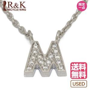 スタージュエリー ネックレス レディース 18金 K18WG ダイヤモンド D0.04 M エム イニシャル アルファベット アズキチェーン STAR ホワイトゴールド 18K 中古 rk-y