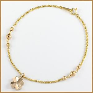 ブレスレット レディース 18金 K18/K18PG ダイヤモンド D0.02 クローバー 女性 かわいい オシャレ 中古 bracelet 価格見直し|rk-y