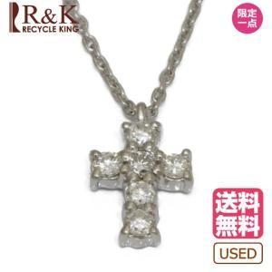 ヴァンドーム青山 レディース ネックレス VENDOME AOYAMA PT900 PT850 ダイヤモンド D0.18 十字架 クロス アズキチェーン 小豆 プラチナ 中古 rk-y