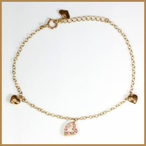 ブレスレット レディース 14金 K14PG  ピンクサファイア ハート ピンクゴールド かわいい おしゃれ 中古 bracelet 価格見直し|rk-y