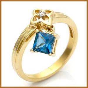 ピンキーリング 指輪 レディース 14金 K14 ダイヤモンド ブルートパーズ 花 フラワー スクエア おしゃれ 中古 ring 価格見直し|rk-y