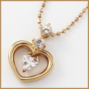 ネックレス レディース 10金 K10PG トパーズ ハート 女性 かわいい おしゃれ 中古 necklace 価格見直し|rk-y