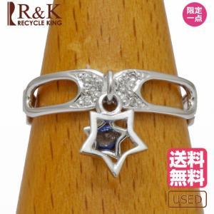 リング 指輪 レディース K14WG サファイア ダイヤモンド 星 スター 揺れる 13号 14金ホワイトゴールド 14K メンズ おしゃれ 中古|rk-y