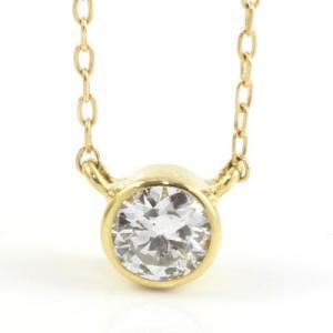 ネックレス レディース SIクラス (鑑定書付に変更可) 18金 K18 YG/PG/WG 0.1ct ダイヤモンド 新品 女性 かわいい オシャレ rk-y